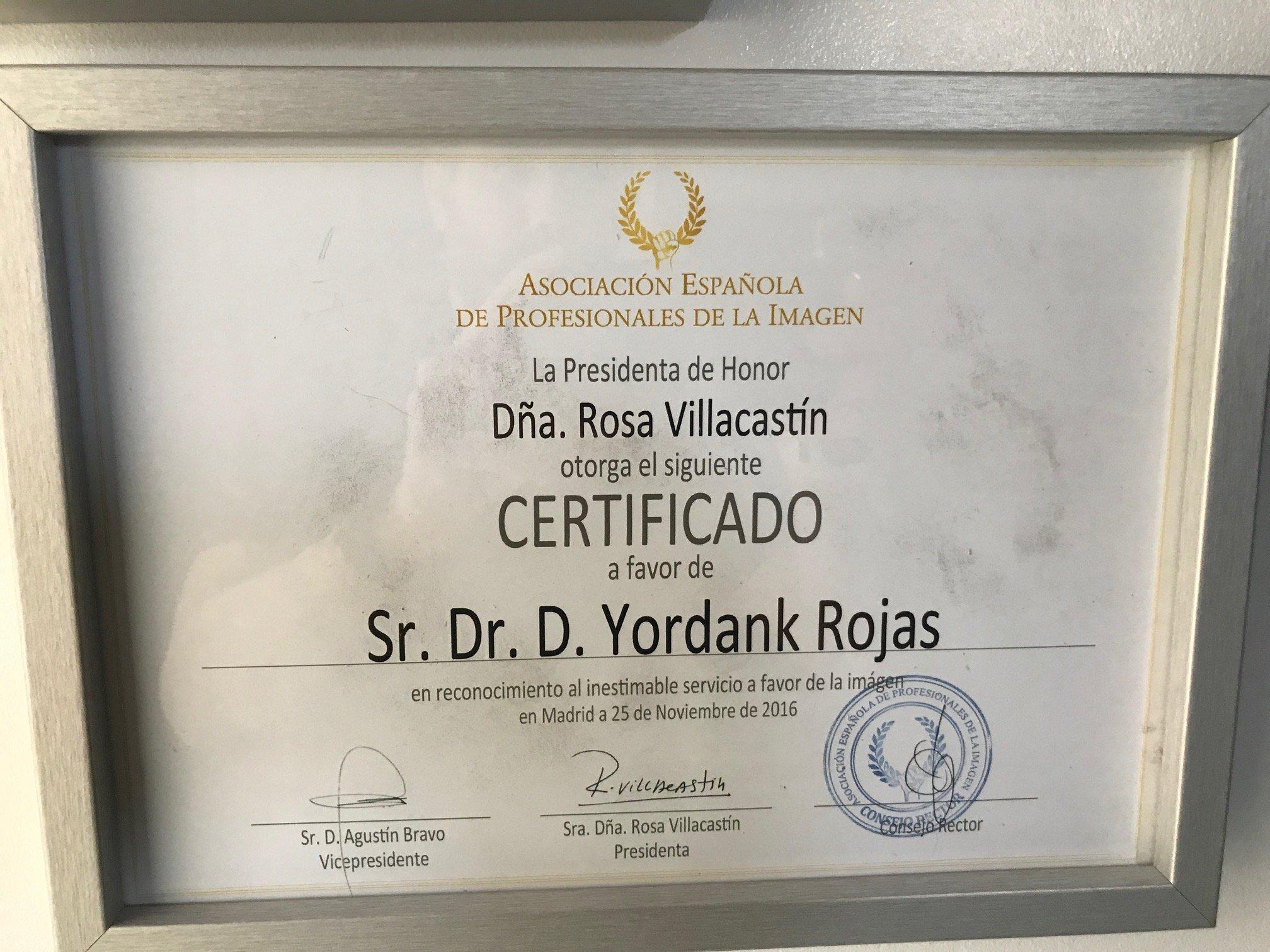 Certificado de profesional de la imagen